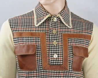 Vintage 1960's Men's OLEG CASSINI Polo Houndstooth Wool MOD Couture Sweater Shirt M 42 43