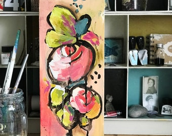 Afternoon florals 2 - original floral painting on canvas by Kasia Avery