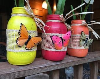 Hand painted quart jars