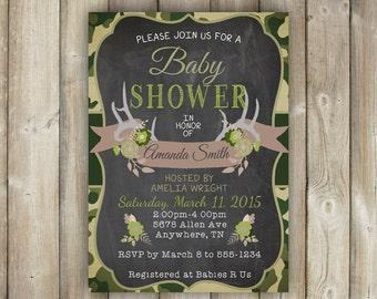Camo Baby Shower Invitation, Antlers Baby Shower Invite, Deer Baby Shower  Invitation, Coed Baby Shower Invite