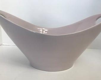 """Unique Mid-Century Modern Mauve 13"""" Fruit Bowl with 2 Cool Handles"""