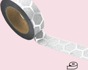 Silver Geo Washi Tape in Sparkles and Metallic 12