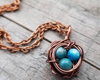 Bird Nest Necklace, Mother's Day Gift, Gift Under 30, Gift For Mom, Wire Wrapped Nest, Bird Nest Pendant, Apatite Stones, Easter Gift
