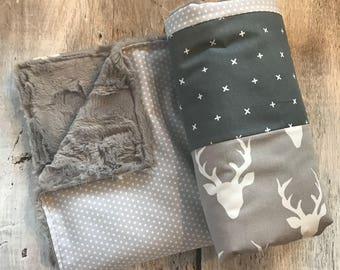 Baby crib blanket ,minky blanket, handmade quilt, quilted crib blanket, deers, grey and beige