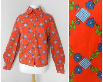 Sale 60's COTTON vibrant red GEOMETRIC MOD shirt blouse with dramatic 'dog ear' collar U.K. 12 – 14 M