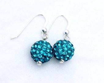 Aqua Pave' crystal earrings, crystal ball earrings, blue green crystal earrings, sterling silver crystal earrings, rhinestone crystal balls