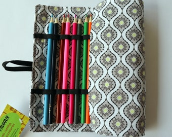 Large Pencil Roll - Holds up to 24 pencils (included) - grey geometric, sun