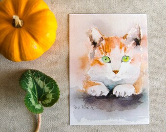 red and white cat postcard, print postcard - kitty cat postcard