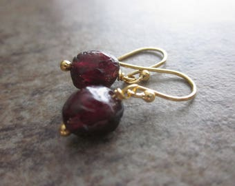Garnet Nugget Earrings. Natural Gemstone. Rough Garnet. 14k Gold Fill. Minimalist Earrings. Gifts for Her. January Birthstone. Root Chakra.
