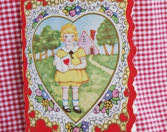 Vintage Valentine: Girl and Boy with Mail & House 1930s Gilded