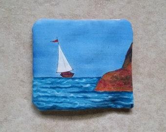 Real Lavender Filled Sachet Handmade Hand Painted Sailboat Blue Ocean Scene OOAK