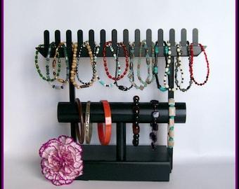 Black Bracelet Organizer - Jewelry Organizer - Bracelet Stand - Black Wood Stand