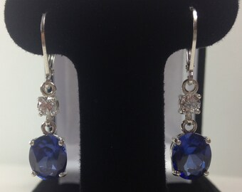 Beautiful 6ct Sapphire Sterling Silver Earrings Oval Cut Blue Sapphire Leverback earrings Trending Jewelry Gift Trends bride mom accents