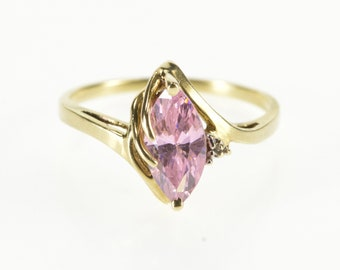 10K Marquise Pink Cubic Zirconia Diamond Accent Ring Size 6.25 Yellow Gold