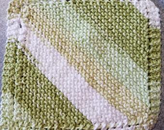 Handmade Knitted Dishcloth - Lime Stripes