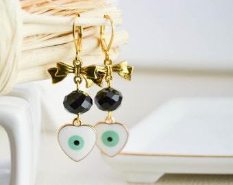 Boucles d'oreille noeuds - Boucles d'oreille oeil - evil eye - Boucles d'oreille charms émaillé - Boucles d'oreille longue - pendantes - été