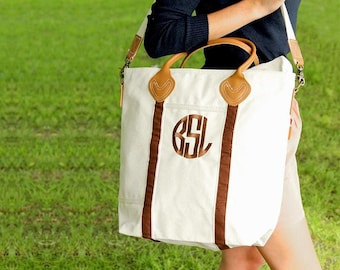 NEW! Monogrammed Brown Trim Canvas Flight Bag with Leather Handles  font shown NATURAL CIRCLE in Brown