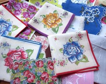 Vintage Floral   Hankies , Handkerchiefs  , Assorted  Hankies , Vintage Linens  Quilting Hanky    - set of 20.