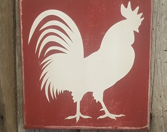 Farmhouse Sign, Rooster Sign, Rooster Decor, Farmhouse Decor, Red Rooster, Primitive Rooster Art