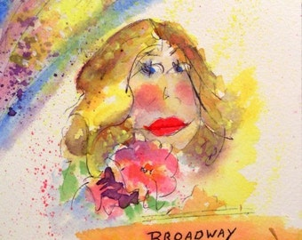 Watercolor With Pen And Ink * BROADWAY LADY * Original Painting * THOUGHTS Series * Small Art Format