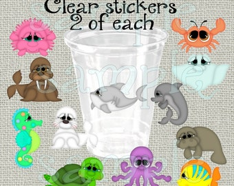 24 Under the Sea baby shower stickers Decorations Birthday Party stickers Party stickers Party cup stickers decals favors DIY or Precut