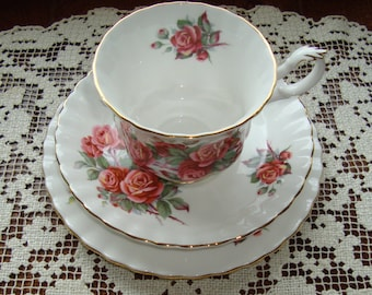 Centennial Rose Trio - Royal Albert  - Bone China England - Vintage Tea Cup, Saucer and Bread and Butter Plate - Pink/Red Roses