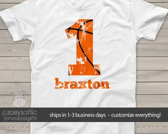 basketball birthday t-shirt - basketball party shirt - distressed number and lettering - pick any number MBD-072
