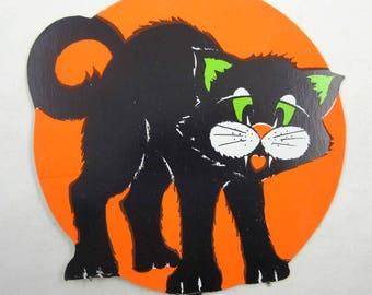 Vintage Neon Orange Halloween Die Cut Decoration with Scary Black Cat