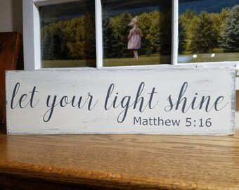 First Communion Gift - First Communion - Let Your Light Shine - Matthew 5:16 - Religious Sign - Religious Quote - Scripture Sign - Wood Sign
