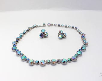 Weiss aurora borealis Weiss necklace earring set Vintage Weiss excellent condition Weiss Weiss jewelry gift for her