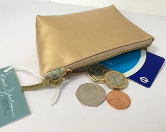Matt Gold Faux Metallic Leather with Liberty of London Lining Coin Purse