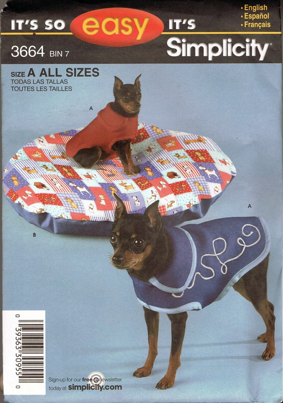 Easy Dog Coat & Oval Pet Bed Sewing Pattern - Extra Small Dog Coat ...