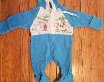 Vintage peanuts pajama - 80s clothes - snoopy and charlie brown - sz 0-6mo