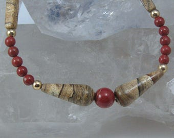 Picture Jasper and Red Jasper Necklace Set, 18 inch Jasper Necklace and Earrings, Natural Stone Jewelry Set