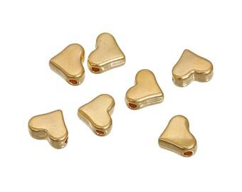 Gold/Brass Heart Bead - 6mm - 50 pieces - #HK1425
