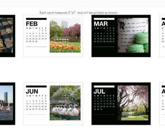 2018 Boston Calendar, 5 x 7 Loose Desk Calendar, New England Photos, 12 Month Calendar, Holiday Gift Ideas, Gifts for Her, Desk Accessories