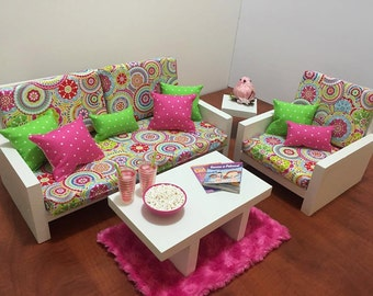 "American Girl Doll Furniture. 18"" Doll Furniture. Living Room - Modern Psychodelic Couch with Pink/Green and Pillows and Pink Rug"