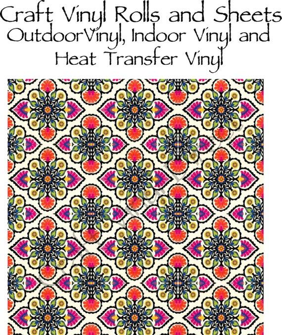 Beautiful, Vibrant Craft Vinyl and Heat Transfer Vinyl in Floral Diamond Pattern 209