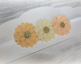Peaches and cream daisy headband, baby headband, girl headband, flower headband, flower girl hair, wedding headband, wedding hair