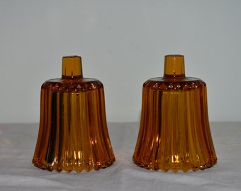 Vintage Amber Votive Holders (Set of 2)