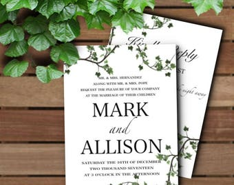 Rustic wedding digital or physical invitation - Ivy themed wedding invitation and RSVP DIGITAL or PHYSICAL copy