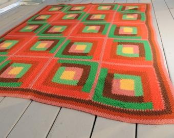 Vintage Afghan Geometric Blanket