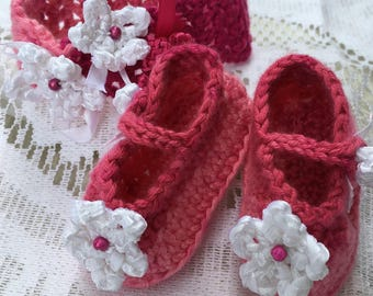 Flower, baby, girl, newborn headbands and shoe set
