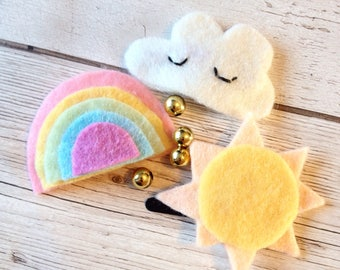 rainbow hair clips   cloud hair clips   pastel rainbow   felt kawaii clips   cloud face   pastel hair clips   sun hair clips   set of hair