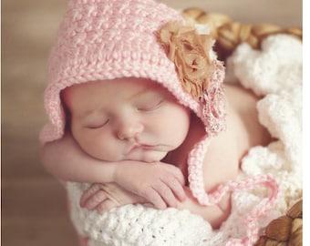 INSTANT DOWNLOAD - Crochet Baby Bonnet  Pattern - Little Prairie Bonnet crochet pattern - Baby hat crochet pattern