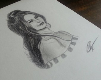 Original portrait drawing of Lana Del Rey Lizzy Grant art handmade artwork original art