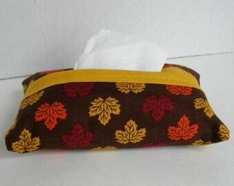 Leaf Pocket Tissue Holder - Fall Tissue Cover - Fabric Tissue Case - Fall Tissue Cozy -  Purse Tissue Cover