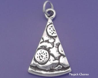Pepperoni PIZZA Slice Charm .925 Sterling Silver, Italian Food Pendant - lp2545