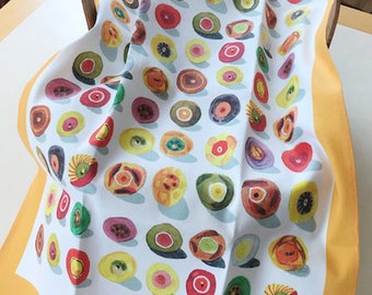 "A Judy Kahooti Design Kitchen Towel ""Sushi"" design, Linen and Cotton Blend, Perfect for Gift Giving"