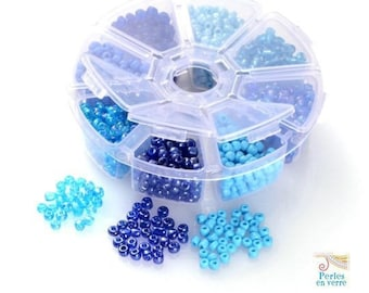 Blue mix: 1 box 150 g seed beads 4mm. 8 different colors